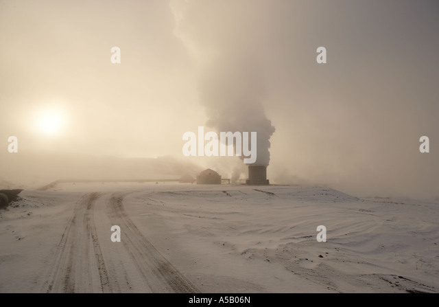 Bore holes, Geothermal steam, Leirhnukur hot spring area, Namaskrad, Iceland - Stock Image
