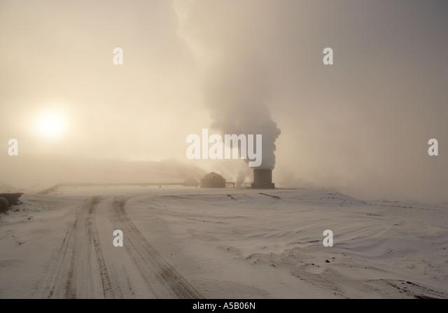 Bore holes, Geothermal steam, Leirhnukur hot spring area, Namaskrad, Iceland - Stock Image