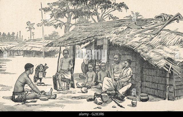 A family in the Congo circa 1879 (Pre 'Free State') - Stock-Bilder