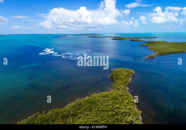 Florida Florida Keys Upper Key Largo Buttonwood Sound Florida Bay Baker Cut Everglades National Park aerial overhead - Stock Image