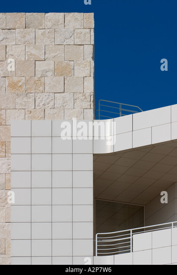 An outdoor view of a building at the J. Paul Getty Museum in Los Angeles, CA. - Stock Image