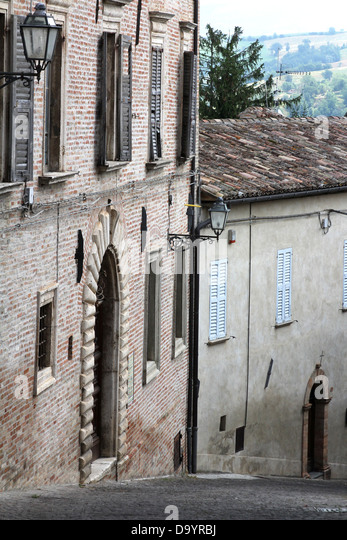 Historic palazzo facia in the old town ,Amandola , Le Marche ,Italy - Stock Image