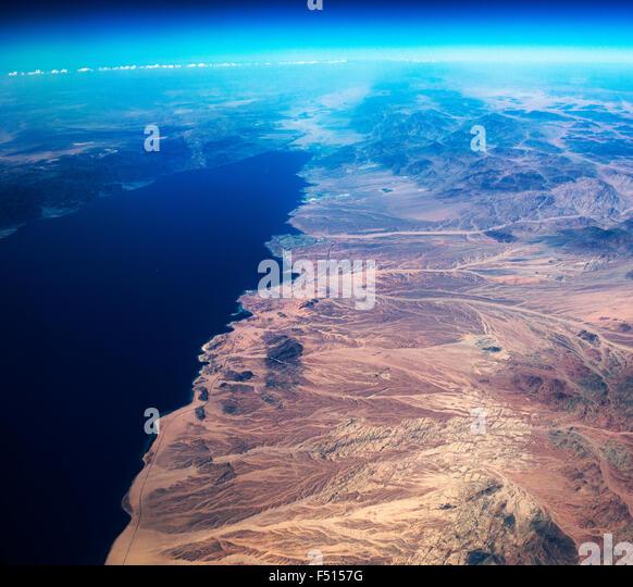 An aerial view of the Saudi Arabian coastline and the Gulf of Aqaba. - Stock Image