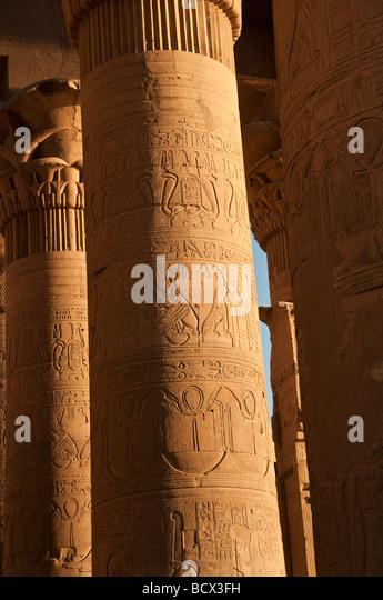 Egypt Kom Ombo temple pylons columns reliefs hieroglyphs hypostyle hall - Stock Image