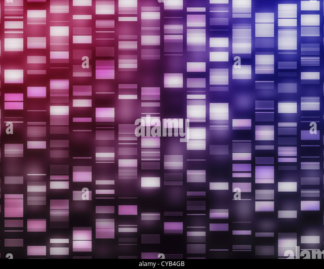 Pink and purple DNA strands - Stock Image