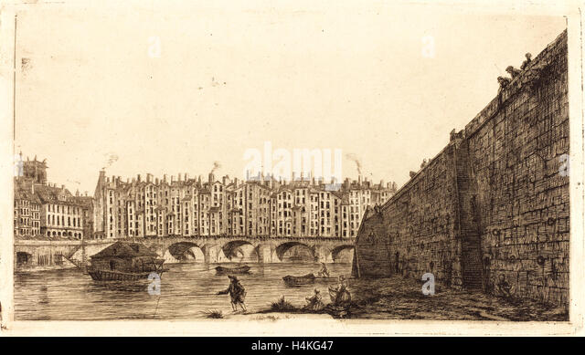 Charles Meryon after Victor Jean Nicolle, French (1821-1868), Le Pont-au-Change, Paris, vers 1784, 1855, etching - Stock-Bilder