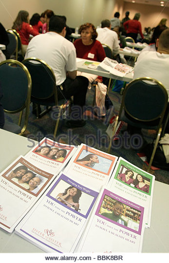 Miami Florida James L. Knight Center centre Women's Heart Health Fair Sister to Sister Foundation heart disease - Stock Image