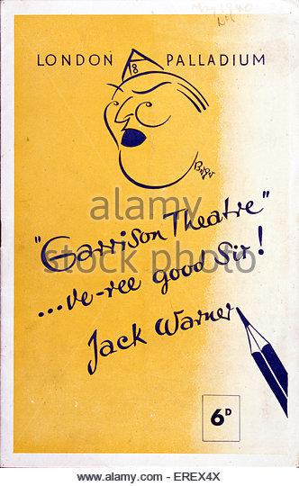 Garrison Theatre with Jack Warner - World War 2 radio entertainment. Advertisement for London Palladium. - Stock Image