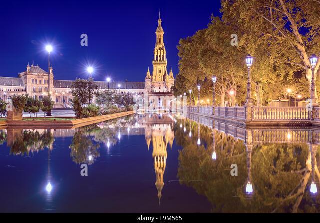 Seville, Spain at Spanish Square (Plaza de Espana). - Stock Image