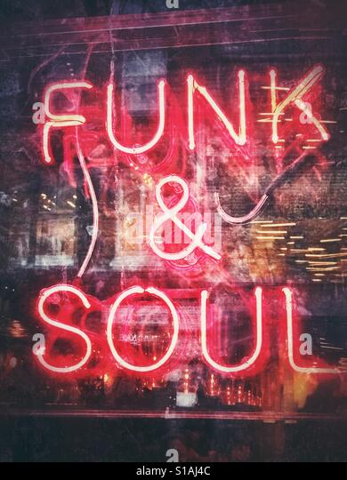 A neon Funk and Soul sign - Stock Image