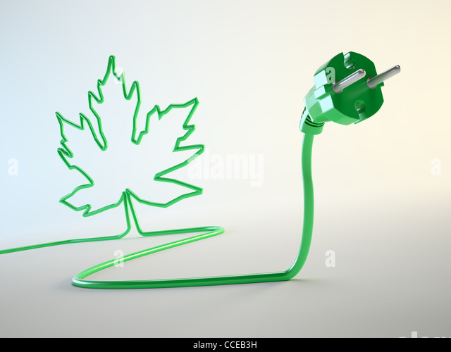 Electric plug with a leaf shaped cord green energy concept - Stock Image
