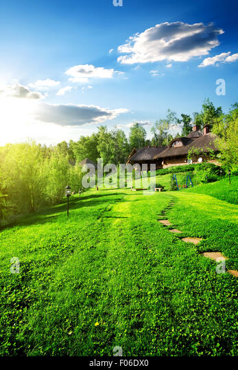 Wooden houses on green meadow in spring - Stock-Bilder