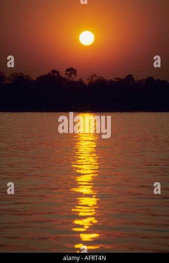 Africa, Sunset over Zambezi River , Mana Pools, Zimbabwe - Stock Image