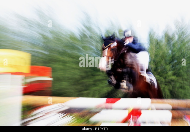 Equestrian horse show jumping - Stock Image