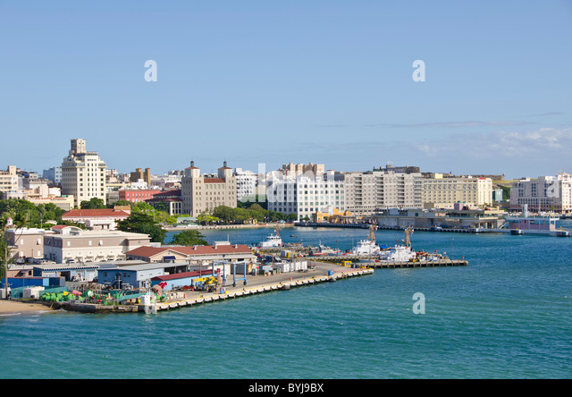 Puerto Rico approaching Old San Juan coast and Harbor area as seen from San Juan Bay from an arriving cruise ship - Stock Image