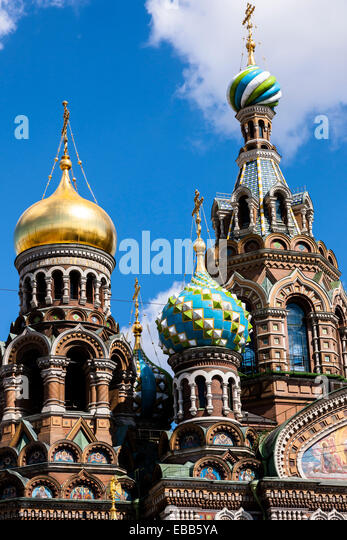 A view from Griboedov canal of the church on Spilt blood - Stock Image