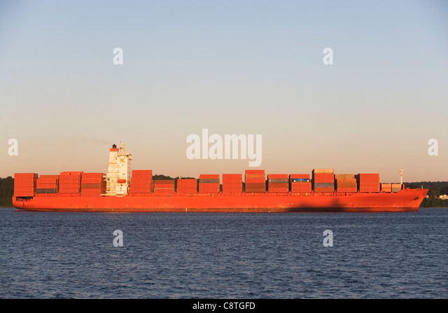 USA, New York State, New York City, Brooklyn, Container Ship - Stock Image