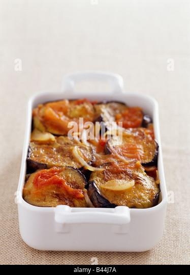 Eggplant and potato gratin - Stock Image