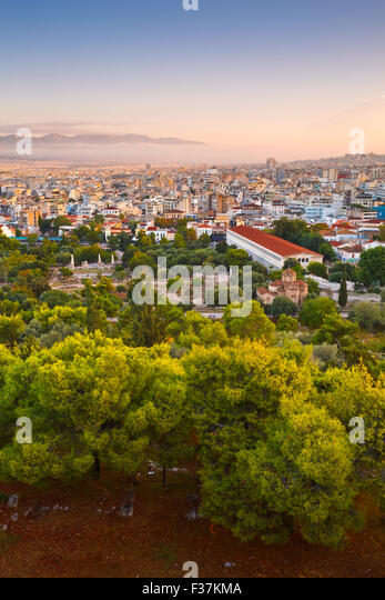 View of Agora and Athens from Areopagus hill. - Stock Image