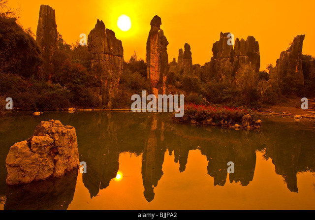 Spires at Little Stone Forest, Stone Forest National Geopark, China, Yunnan Province, Limestone pinnacles, UNESCO - Stock Image
