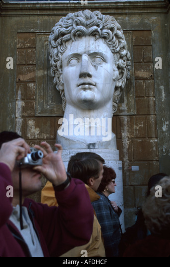 Vatican City Courtyard of the Pinecone bust Augustus Caesar art history visitors - Stock Image