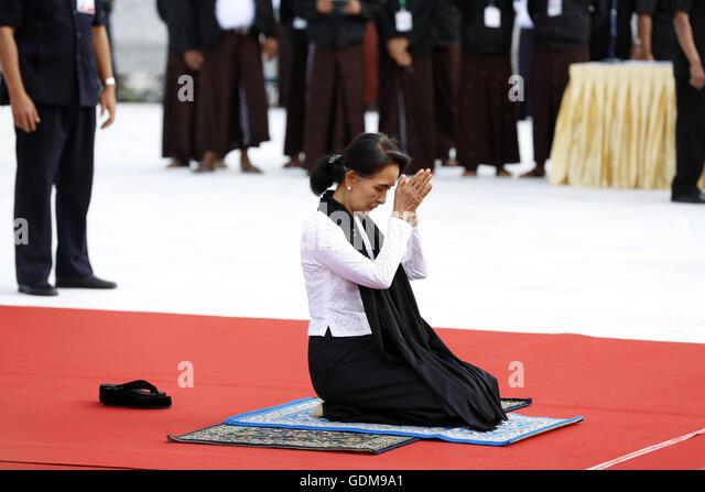 Yangon, Myanmar. 19th July, 2016. Myanmar's State Counselor Aung San Suu Kyi, daughter of General Aung San, - Stock Image