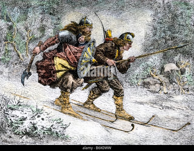 Birchlegs carrying Prince Hakon Hakonson to safety over the mountains, a Norwegian legend - Stock Image