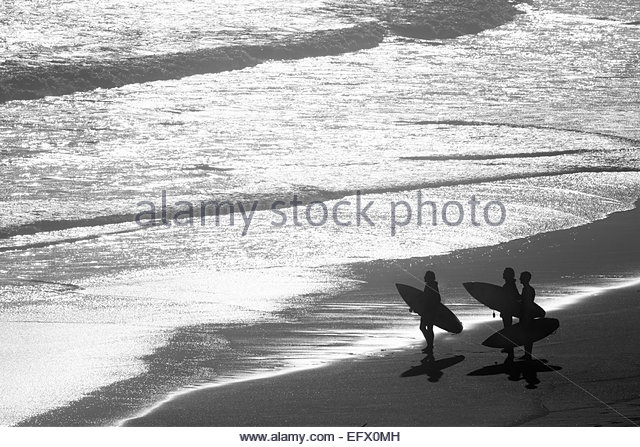 Group of Surfers carrying surf boards looking out to sea - Stock Image