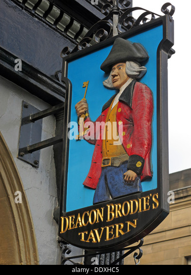 Deacon Brodies Tavern Sign, Royal Mile, EDN, Edinburgh City, Scotland, UK - Stock Image