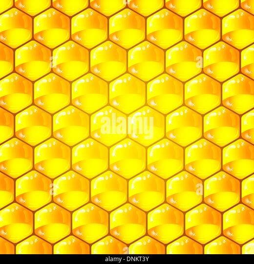 Golden  cells of a honeycomb pattern. Vector illustration. - Stock Image