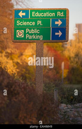 Sign on university campus - Stock Image