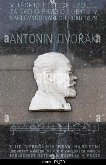 Plaque commemorating the composer Antonin Dvorak, Karlovy Vary, Karlovy Vary Region, Bohemia, Czech Republic - Stock-Bilder