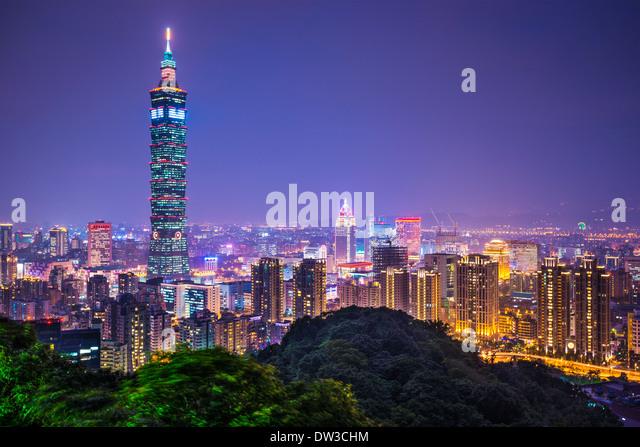Taipei, Taiwan skyline at night. - Stock Image