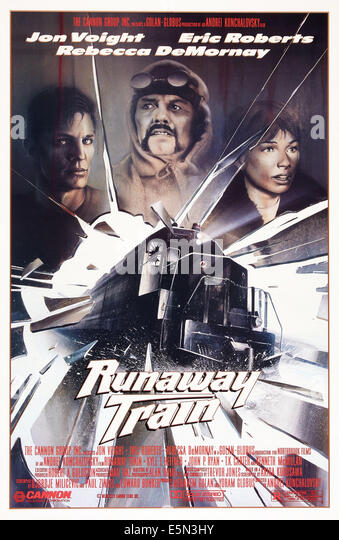 RUNAWAY TRAIN, US poster art, from left: Eric Roberts, Jon Voight, Rebecca DeMornay, 1985, ©Cannon Films/courtesy - Stock Image