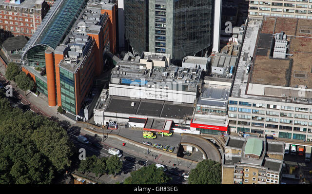 aerial view of St Thomas' Hospital in Lambeth, London SE1, UK - Stock Image