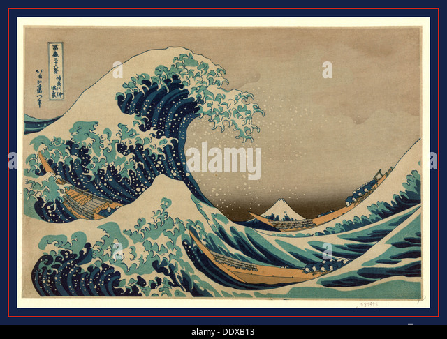 Kanagawa oki nami ura, The great wave off shore of Kanagawa. [between 1826 and 1833, printed later], 1 print : woodcut, - Stock Image