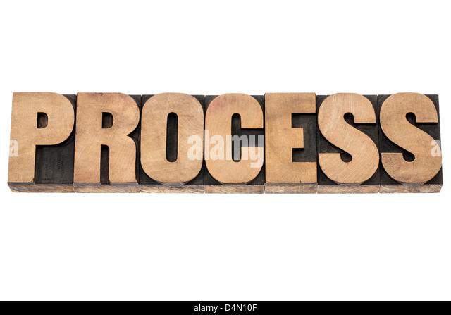 process word - isolated word in vintage letterpress wood type printing blocks - Stock Image