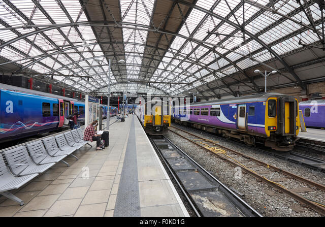 trains at platforms in Liverpool lime street station England UK - Stock Image