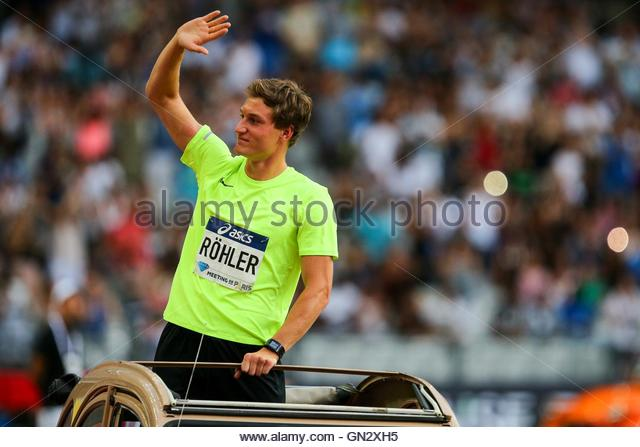 Saint Denis, France. 27th Aug, 2016. German javelin thrower Thomas Röhler parades in the Stade de France - Stock Image