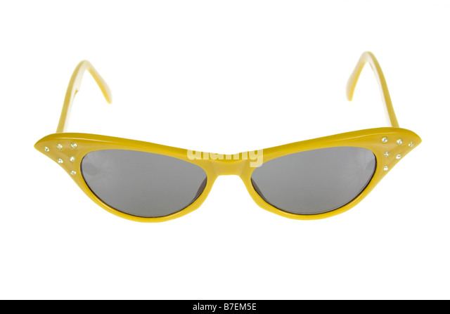 Retro 1950's american female sunglasses on a pure white background. - Stock Image
