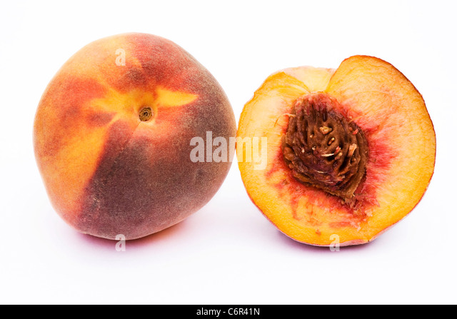 Prunus persica. Peach on a white background - Stock Image