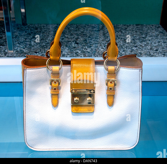 Handbag Miu Miu ( Prada ) Monaco shop French Riviera  fashion house Italy Italian - Stock Image