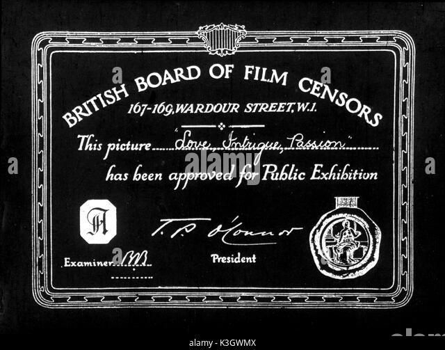 CENSOR'S CERTIFICATE which has to be screened before each film.  This one is for a 1921 Austrian film Cherchez - Stock Image