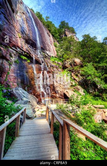 Hickory Nut Falls in Chimney Rock State Park, North Carolina. - Stock Image