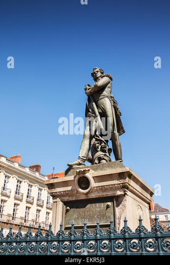 Statue of General Cambronne, Cours Cambronne, Nantes, Brittany, France. - Stock Image