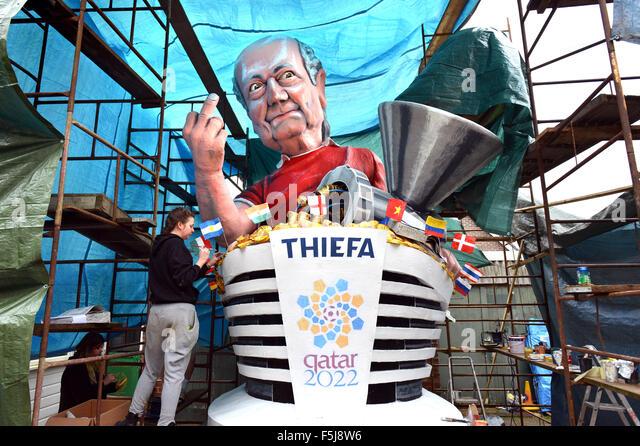Lewes Bonfire effigy of FIFA president Sepp Blatter - Stock Image