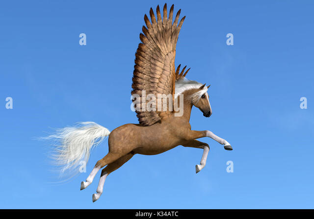 A palomino Pegasus flies on powerful wings on a clear spring day to his next destination. - Stock Image