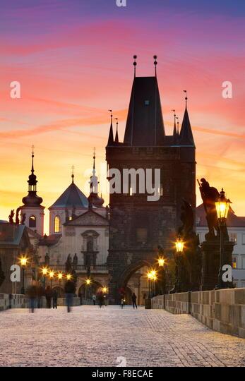 The Old Bridge Tower, Prague Old Town skyline, Czech Republic, UNESCO - Stock Image