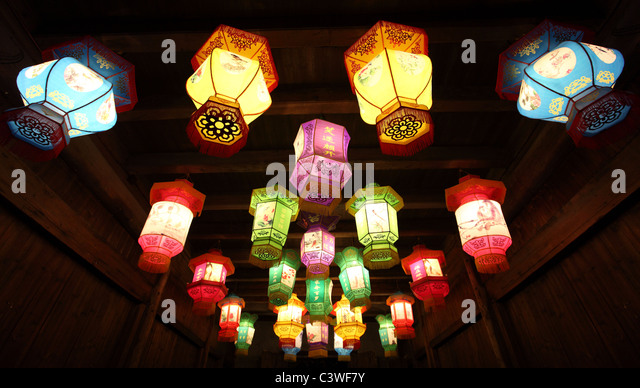 Chinese traditional paper lanterns in the dark - Stock Image
