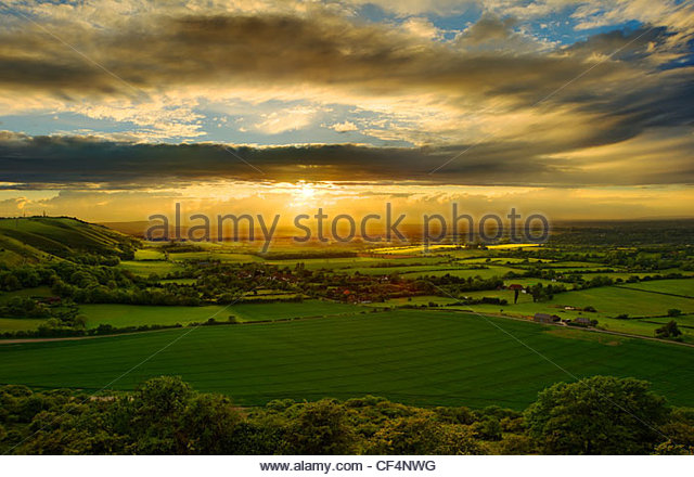 Sunset over Fulking Escarpment in the South Downs National Park. - Stock Image